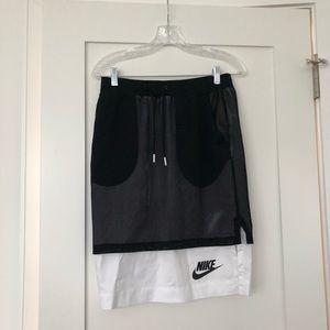 Nike Monochrome drawstring Mesh pencil midi skirt